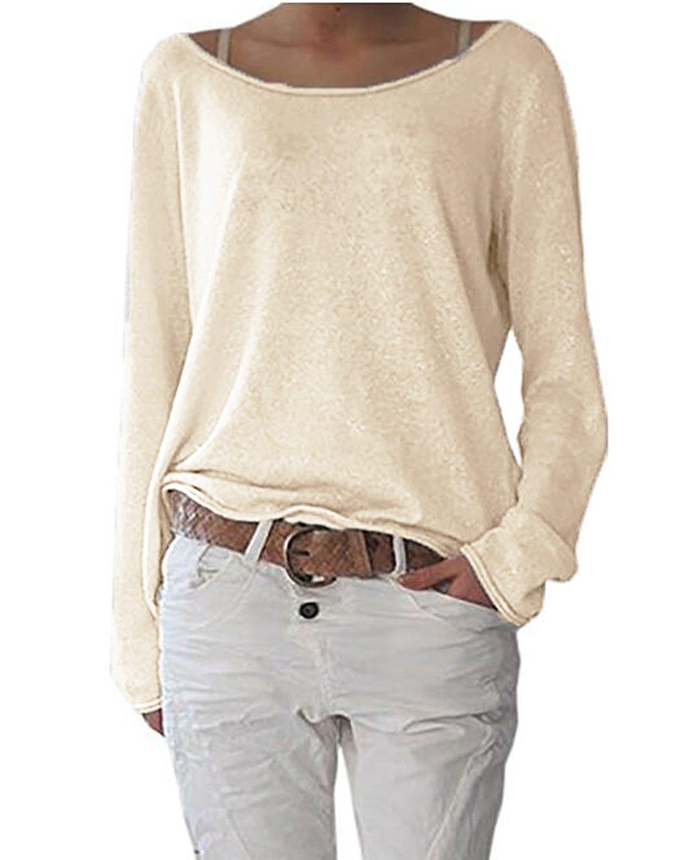 ZIOOER [Design Damen Pulli Langarm T-Shirt Rundhals Ausschnitt Lose Bluse Hemd Pullover Oversize Sweatshirt Oberteil Tops