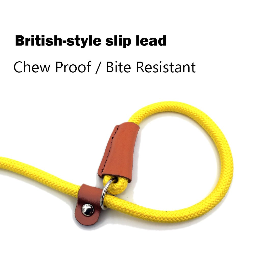 lynxking Braided Rope Dog Leash Strong Heavy Duty Bite Resistant Dog Rope Slip Leads UHMWPE Chew Resistant Training Lead Leashes Medium Large Dogs (3/8'' x5', Yellow) by lynxking (Image #5)