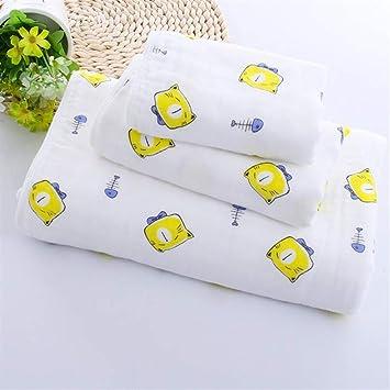 HSDDA Toalla de baño Seis Capas de Gasa de algodón Dibujos Animados Gato Impresa Toalla de