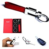 Mehr Elegant Genuine Leather Valet Key Chain - Smart & Useful Detachable Keychain w Key Rings (Monaco Red)