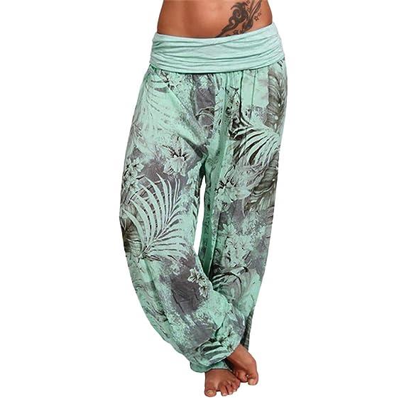 920bcee58c2 HLHN Women Harem Trousers Wide Leg Boho Floral Hippy Aladdin Plus Size  Baggy Yoga Elastic Pants High Waist Casual  Amazon.co.uk  Clothing