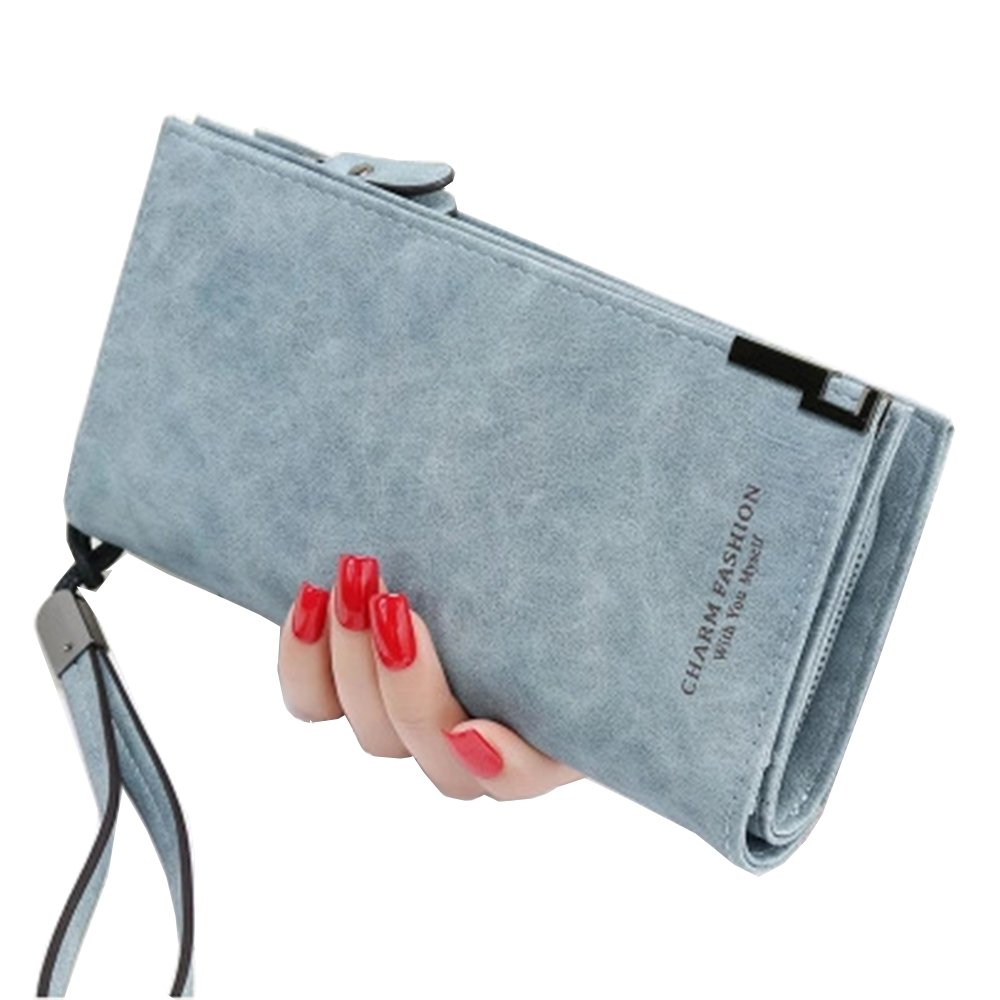 Women's RFID Blocking Leather Wallet Large Capacity Clutch Purse Phone Coin Cash Credit Card Holder Organizer with Removable Wrist Strap (Blue)