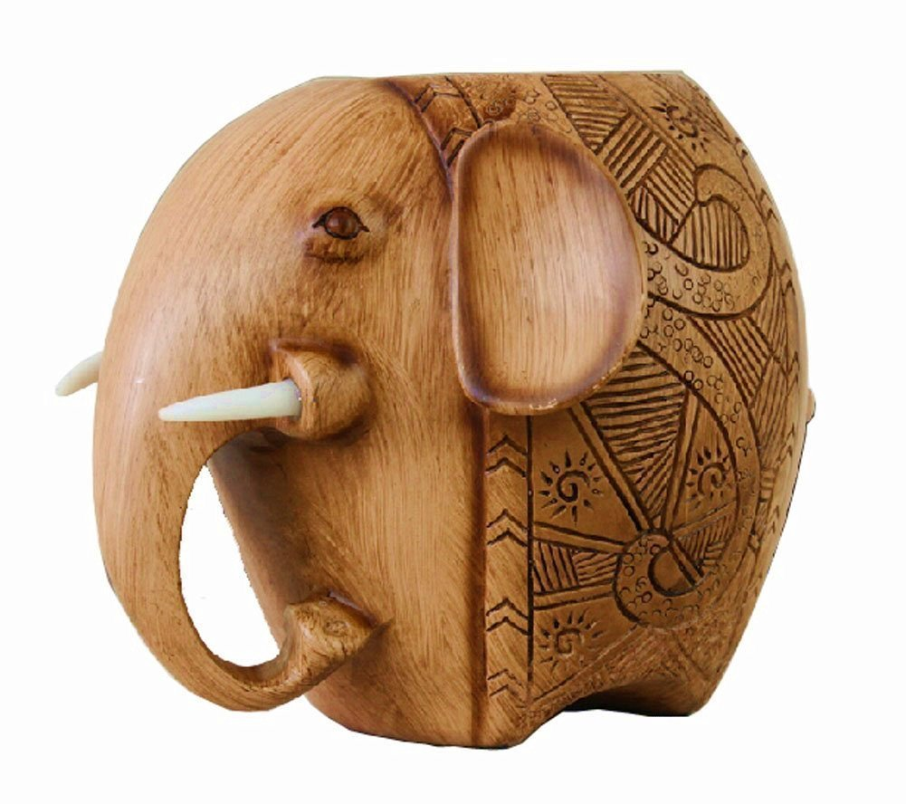 Z-Color ® Wood Carving Elephant Pencil Holder Fashion Creative Wooden Pen Holder For Office/School by Z-Color (Image #1)