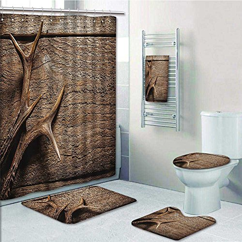 5piece Bathroom SetDeer Antlers Wood Table Rustic Texture Surface Hunting Seasating Prints decorate the bathroom1Shower Curtain3Mats1Bath towel