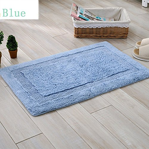 TideTex Simple Solid Rectangle Small Rectangle Carpet Soft Cozy Bathroom Kitchen Door Pad Home Multipurpose Mat Multicolor (1'9x2'9, Blue)