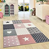Nursery Rug Stars Children Girls Bedroom Carpet Pink Grey Soft Play Room Mat (80x150cm (2'6'x5'0'))