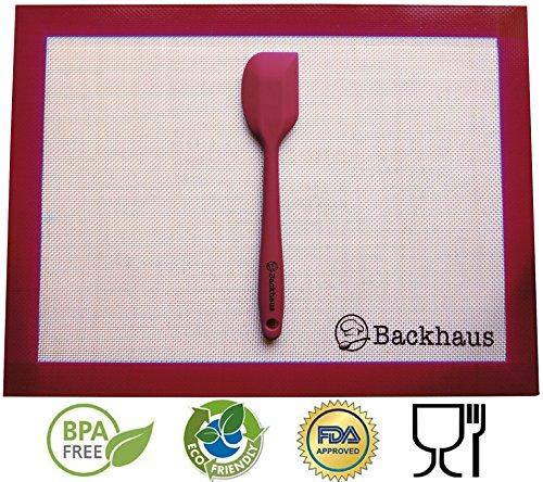 Silikon Backmatte & Teigschaber von Backhaus® - Antihaftbeschichtet - Wiederverwendbar - Premium Qualität Backunterlage | Teigmatte | Ausrollmatte (Standard Größe: 40x30cm) - Burgund