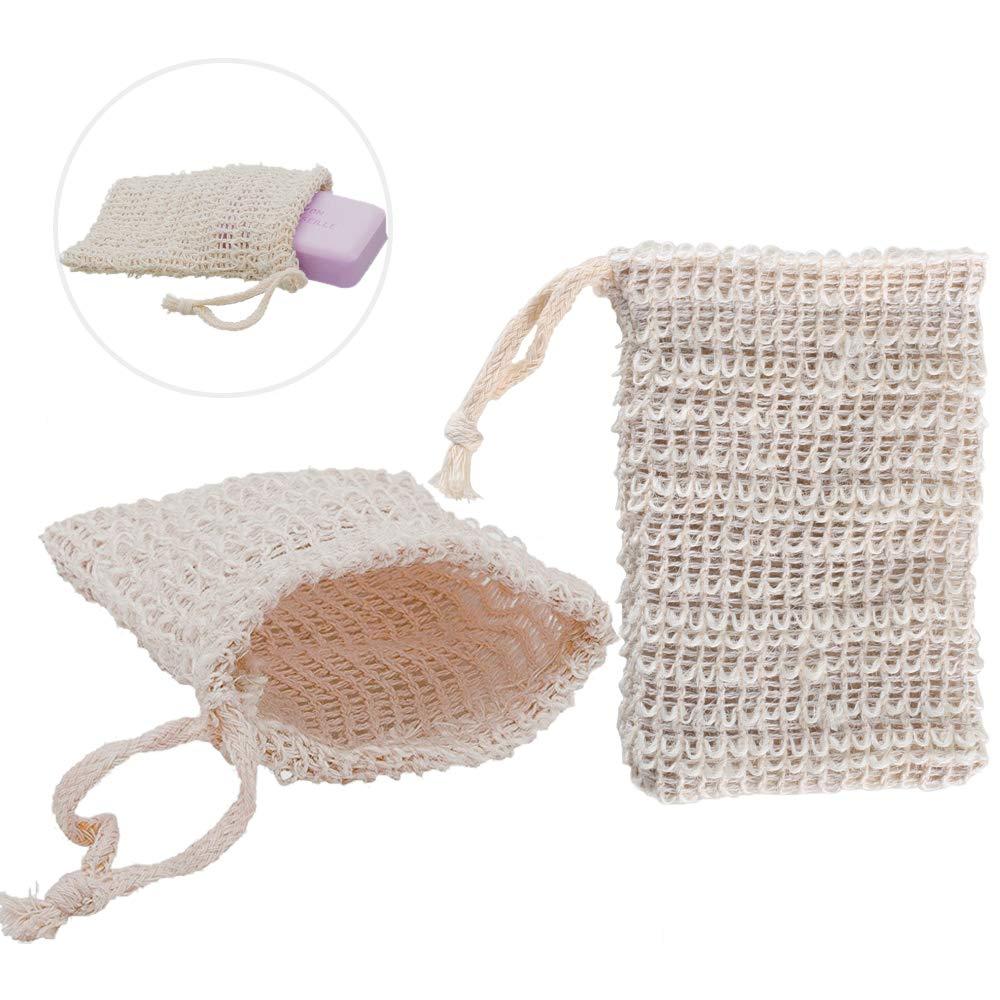 FOGAWA Sisal Soap Bag 2 PCS Soap Saver Holder Bar Sisal Pouch Soap Saver Bag Exfoliating Soap Sack With Drawstring For Bathing Washing hands