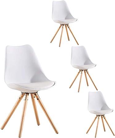 LOVEMYHOUSE Pack de 4 sillas de Comedor Oficina Sillas con Madera,Cocina Nórdico con Asiento Tapizado y Las piernas de Haya Piernas para Comedor/Sala de Estar/Café/Restaurante(Blanco): Amazon.es: Hogar