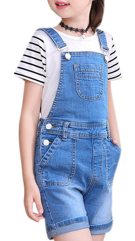 Luodemiss Girls's Casual Denim Overalls Bib Toddler Jeans Big Kids Outwear Cowboy Shorts 10 Light Blue