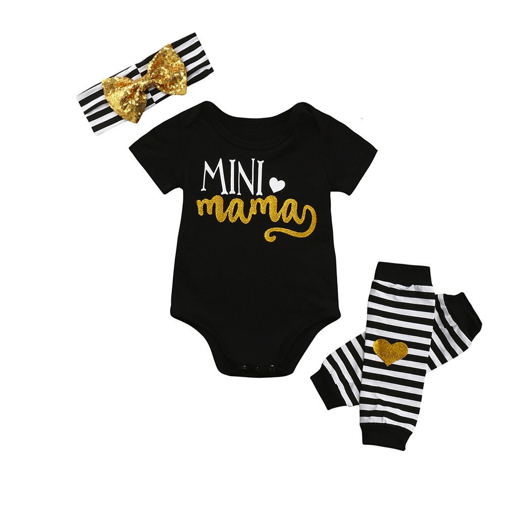 FimKaul Baby Boys Girls Cotton Mini Mama Letter Heart Print Cute Romper +Leg Warmer+Headband Clothes Outfit Set