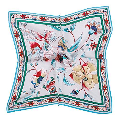Grace Scarves 100% Silk Scarf, Petite Square, Charmeuse, Elegant Bouquet, ()