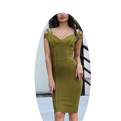 Women Bandage Dress Olive Green Off Shoulder Stunning Celebrity Prom Sexy Vestidos,Olive Green,