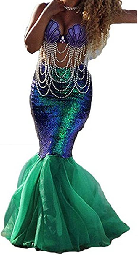 Binwwe Traje de Sirena Mujer Adulta Lencería Cosplay de Halloween ...