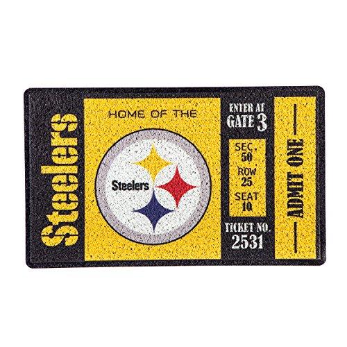 Team Sports America Pittsburgh Steelers Recyclable PVC Vinyl Indoor/Outdoor Weather-Resistant Team Logo Door Turf Mat (Steelers Mat Pittsburgh)