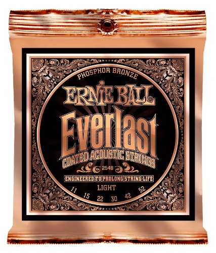 Ernie Ball Everlast Light Coated Phosphor Bronze Acoustic Set, .011 - .052 ()