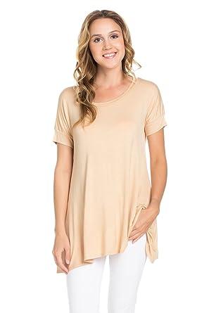 babeb11b59f Frumos Womens Short Sleeve Casual Modal Tunic Top Made in USA at ...