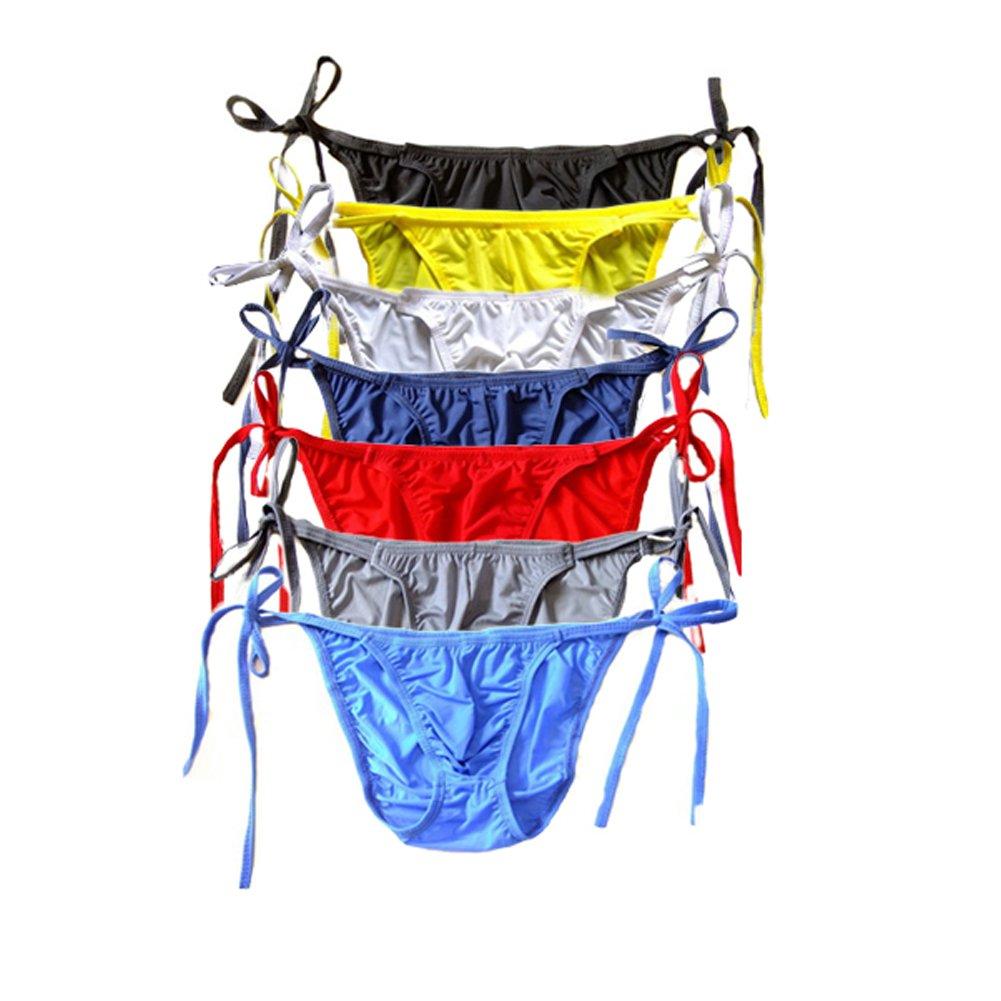 WenMei String Bikini Thong Briefs Milk Silk Side Tie Men's Underwear (Colors Of 7)