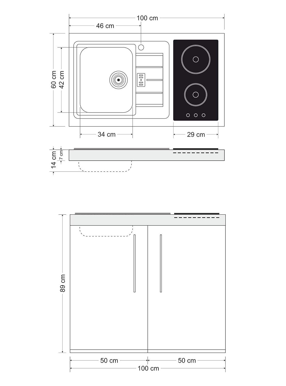 Stengel Steel Concept Minik/üche Premiumline MP 100 Wei/ß Glaskochfeld Links - Becken rechts K/ühlschrank
