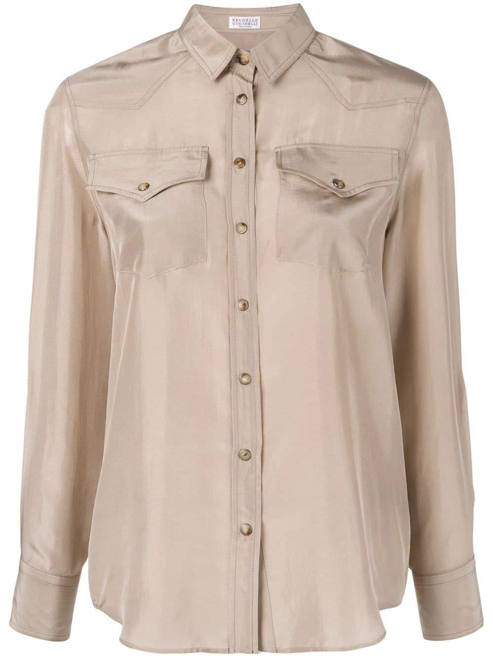 Brand Size S BRUNELLO CUCINELLI Women's MA929NT106C7333 Beige Silk Shirt