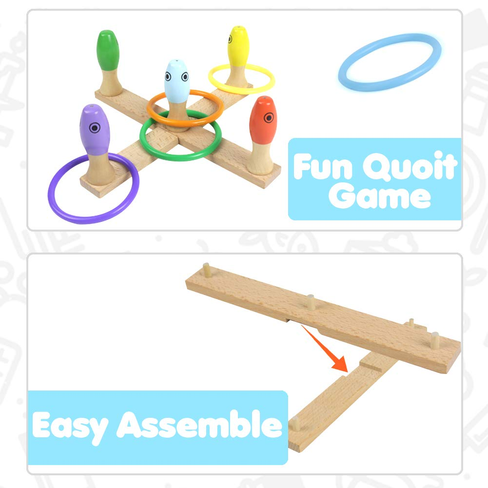 Akokie Quoits Game, Throwing Toys, Fishing Bowling Set, 3 in 1 Wooden Toy Outdoor Indoor Toys Ring Toss for Kids 3 4 5 6 Yeas Old
