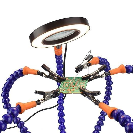 NEWACALOX - Estación de soldadura flexible con manos ayudantes, herramienta de 3 lupas: Amazon.es: Bricolaje y herramientas