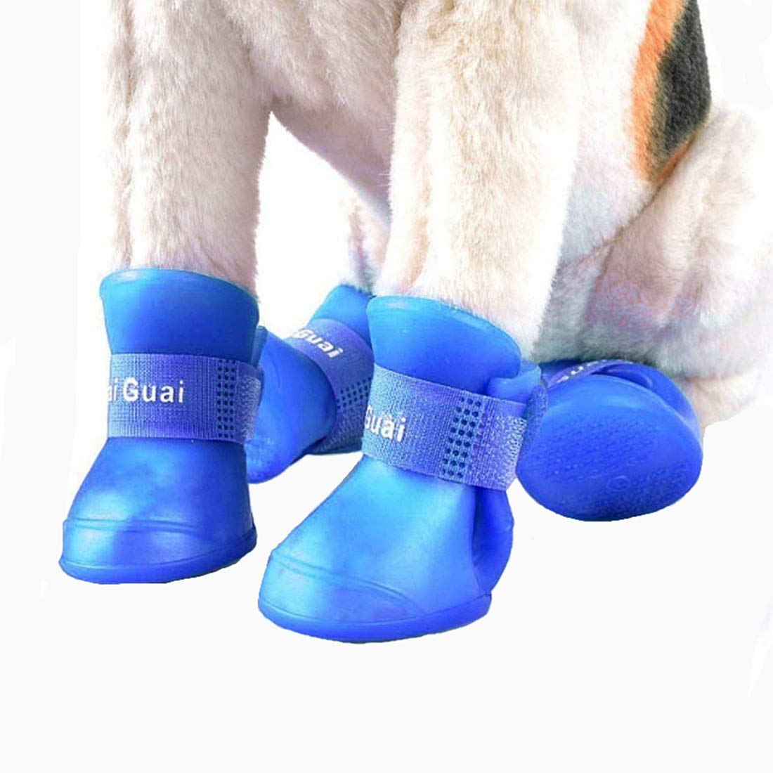VICTORIE Dog Rain Shoes Waterproof Protective Boots for Small Medium Large Dogs with Velcro Blue 4pcs(XXL: 7.0 X 9.0 cm)