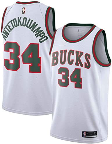 NBA N ° 34 Camiseta de Baloncesto, MilwaukeeBucks Giannis ...