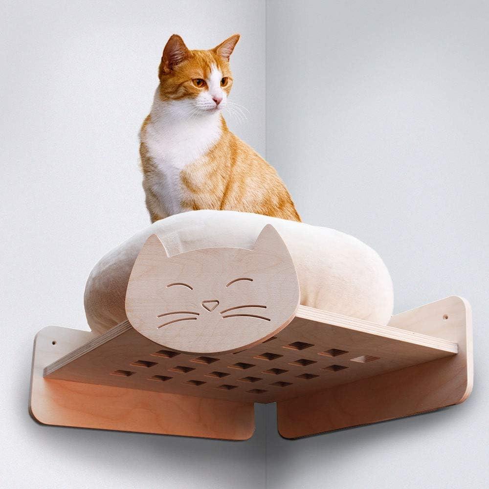 HabiCat.it 8033673644600 - Estantería esquinera con caseta para Pared, Equipada para Gatos con cojín: Amazon.es: Productos para mascotas