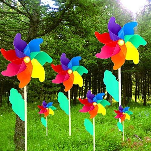 Anddoa Molino de Viento de Madera de PVC Colorido, decoración para el hogar, jardín, Fiesta, Boda, Juguete para niños: Amazon.es: Jardín
