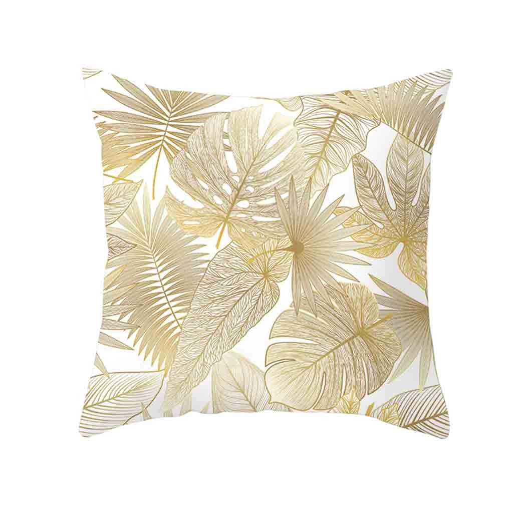 Pet1997 Golden Leaf Hug Pillowcase, Gold Plant Printed Polyester Pillow Case Cover, Sofa Cushion Cover, Home Decor, Luxury Bedding,18 X18 Inch (L)
