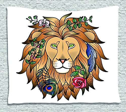 Zodiac Decor Tapestry by , Portrait Head of Lion with Flowers