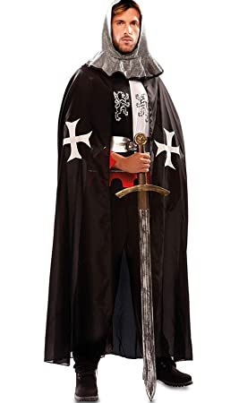 EUROCARNAVALES Capa de Templario Medieval Negra para Hombre ...