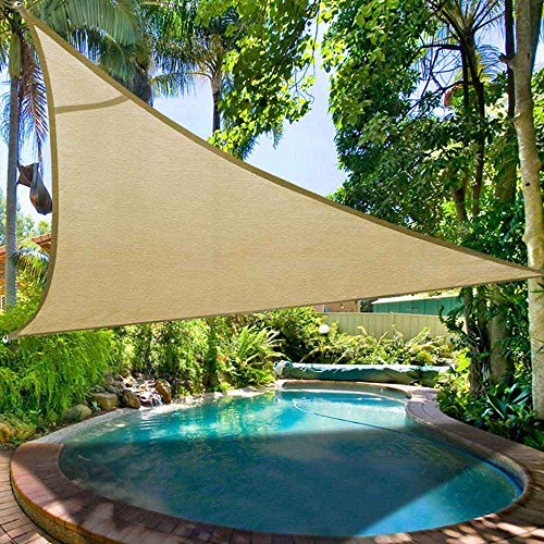 Shade&Beyond 16' x 16' x 16' Sand Color Triangle Sun Shade Sail Canopy for Patio UV Block for Outdoor Facility and Activities