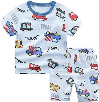 Pijamas de Dos Piezas de Manga Corta para Niños, Morbuy Conjunto de Pijamas de 100% Algodón Verano Bebé Infantil Coche Caricatura Ropa de Dormir con Camisetas y Pantalones