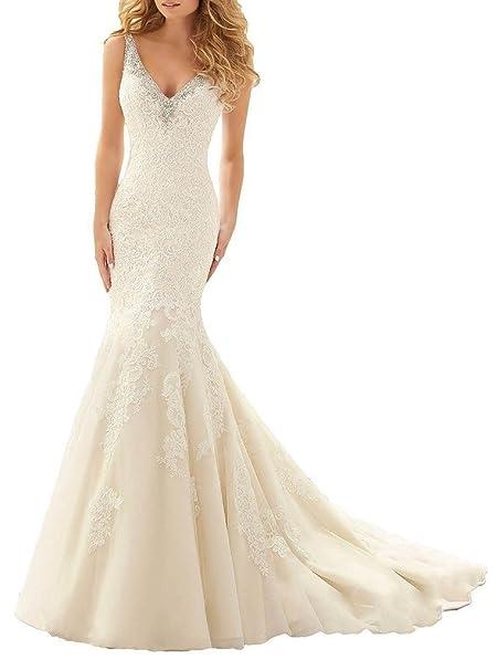 Ebelz Cariño sirena atractiva abiertas vestidos de novia de manga larga de espalda