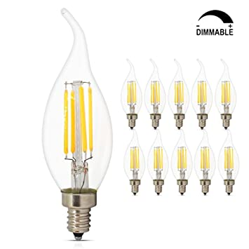 Dimmable LED Candelabra bulbs, 4W 2700K E12 Base LED Filament ...