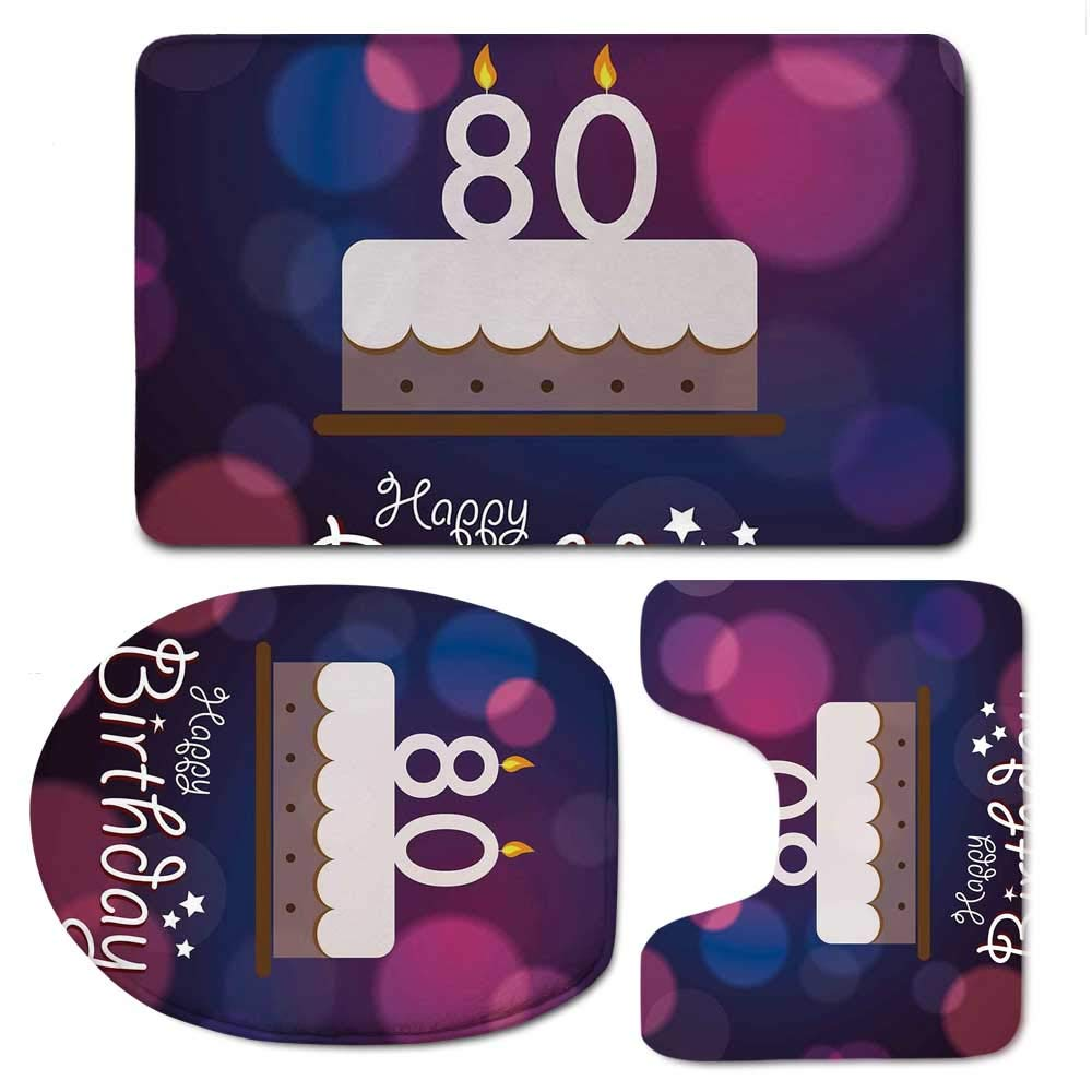 YOLIYANA 80th Birthday Decorations Bathroom 3 Piece Mat Set,Abstract Backdrop with Birthday Party Cake and Candles for Indoor,F:20'' W x31 H,O:14'' Wx18 H,U:20'' Wx16 H