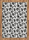 Movie Area Rug by Lunarable, Vintage Artful Film Cinema Icons Motion Camera Action Record Graphic Style Print, Flat Woven Accent Rug for Living Room Bedroom Dining Room, 5.2 x 7.5 FT, Black White