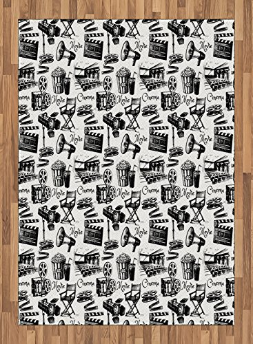 Movie Area Rug by Lunarable, Vintage Artful Film Cinema Icons Motion Camera Action Record Graphic Style Print, Flat Woven Accent Rug for Living Room Bedroom Dining Room, 5.2 x 7.5 FT, Black White by Lunarable