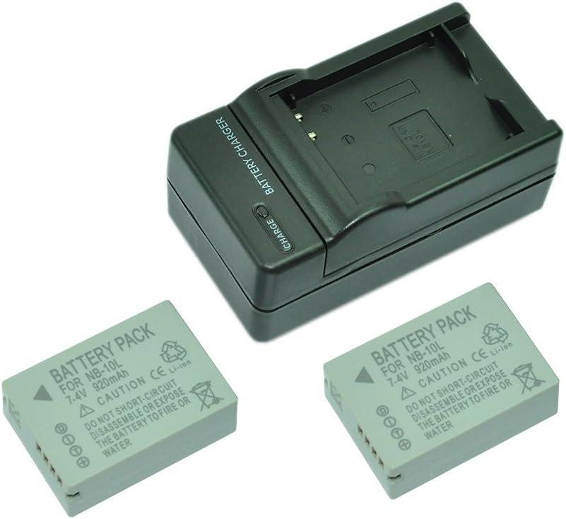 mondpalast@ 2X Reemplazo batería Li-ion type NB-10L NB10-L 920mAh + cargador para Canon Powershot G1 X G15 G16 SX40 HS SX50 HS SX60 HS G3 X Prosumer