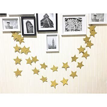 6f9f9fdc2a93 Gold Glittery Star Garland Decoration 4 Meters Shiny And Sparkling Long  Party Background Decor. Great