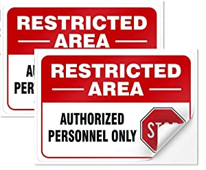 """Restricted Area Sign Authorized Personnel Only Don Not Enter Sign 10""""X7"""" 4 Mil Thick Sleek Vinyl Decal Stickers Weather Resistant Long Lasting UV Protected and Waterproof(2 Pack)"""