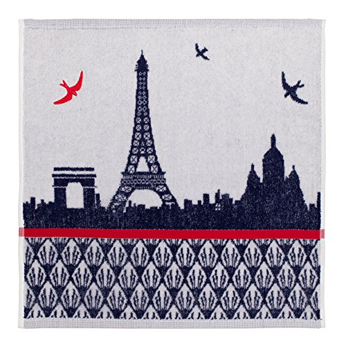 Coucke French Cotton Terry cloth Towel Paris Collection, Carre Monuments De Paris Pattern, 20-Inches by 20-Inches, Blue