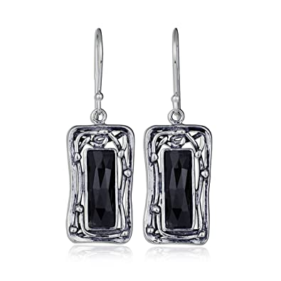 e316a8890 Ornate Rectangle 925 Sterling Silver & Faceted Black Onyx Gemstone Dangle  Earrings with French Wire Hooks