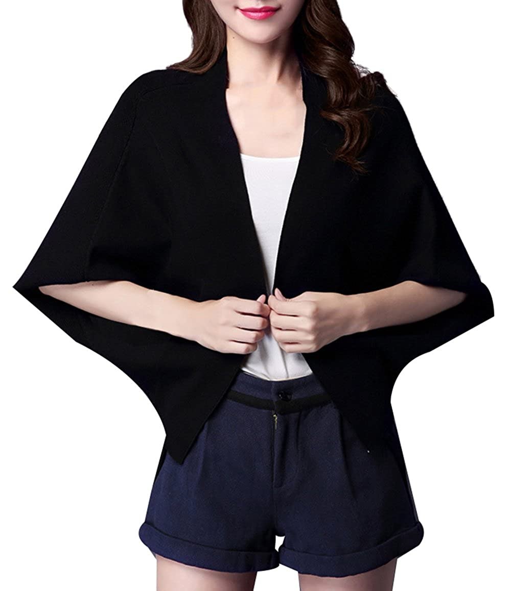 SellerFun Women Elegant Spring Fall Sweater Knitted Batwing Pure Color  Cardigan(Black 202851a64