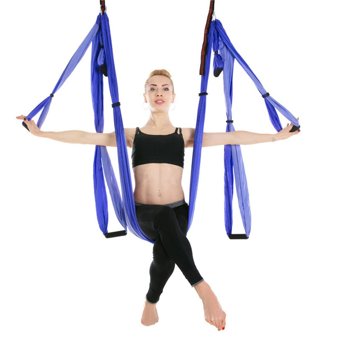 Ranbo aerial yoga trapeze set Ultra Strong Antigravity Yoga Swing / Hammock Holds Up to 400 Pounds for Inversion Exercises Pilate Fitness Flexibility Core Strength Weight Loss