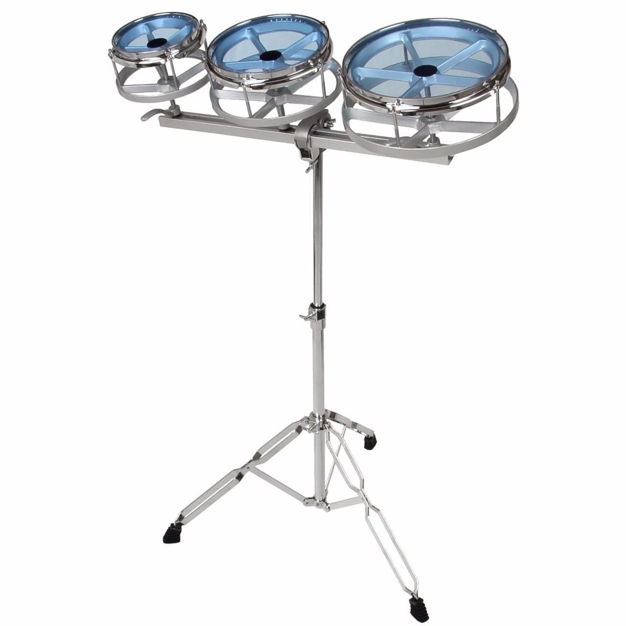GP Percussion RT68 Tunable Roto Tom Drum Set with Adjustable Double Braced Floor Stand, Adjustable Track, Plated Counterhoop, Drum Key, and Drumsticks - Quick Pitch Shift Drums