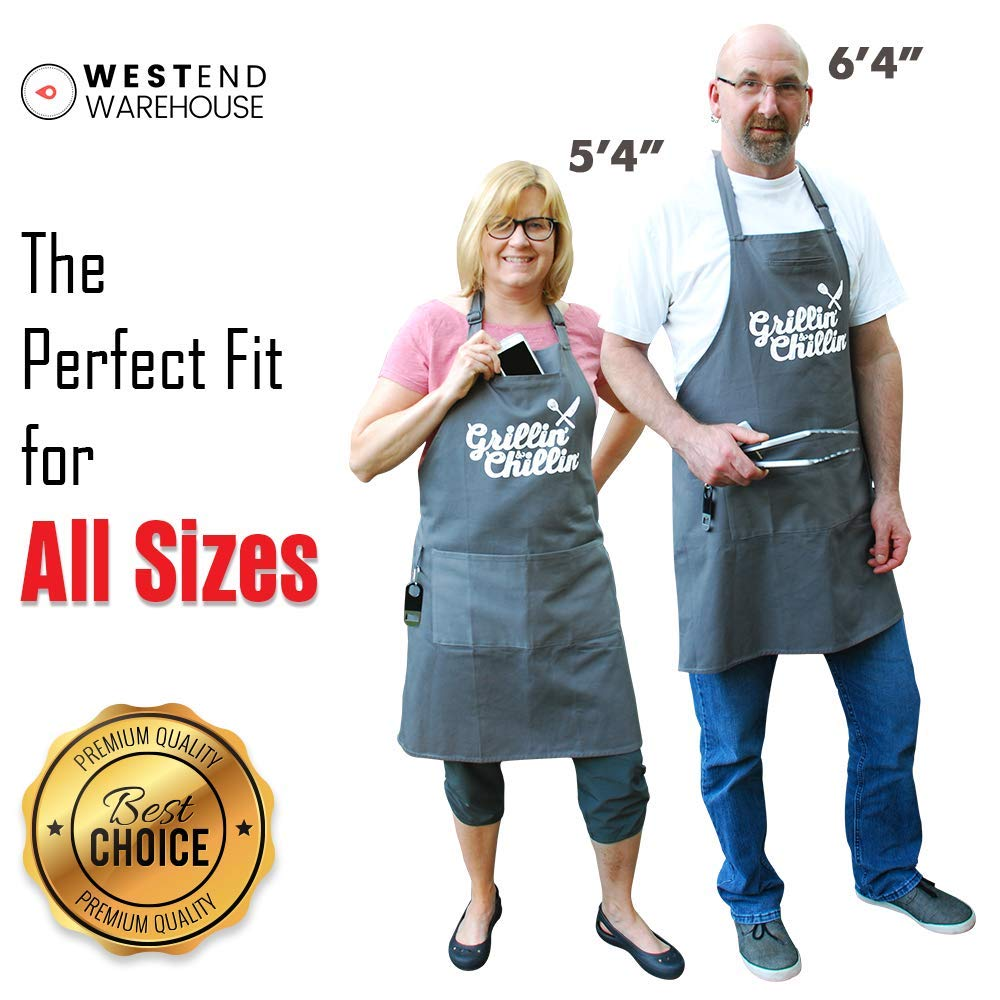 West End Warehouse Chef Apron for Men   Cooking Apron   Funny Apron   BBQ Apron   3 Pockets   Opener, Towel & Gift Box Included   Gray   100% Cotton   Durable Professional Quality by West End Warehouse (Image #3)