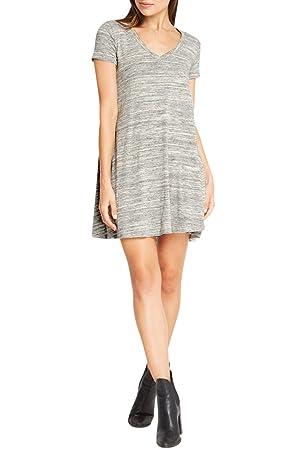 Women's Fashion Tshirt Comfy Soft Tee Slub Knit T Shirt Dress USA GY L